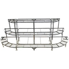 French Art Deco Three-Tier Metal Demilune Plant Stand