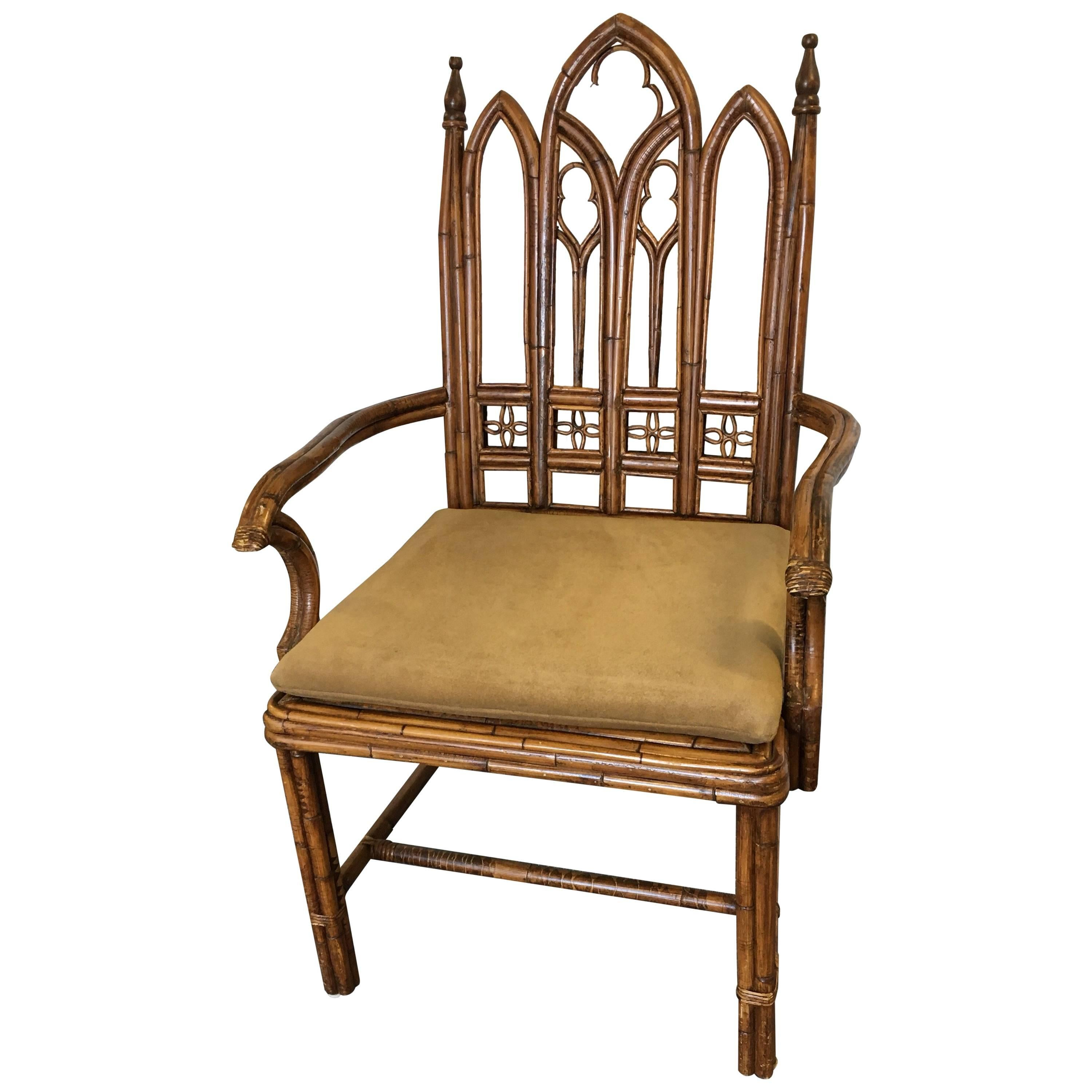 Gothic Style Rattan Armchair For Sale