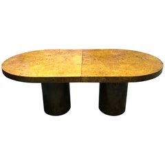Burl Wood Milo Baughman Attr. Oval Dinning Table