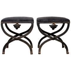 Early 20th Century Pair of Upholstered French X Stretcher Stools with Shell