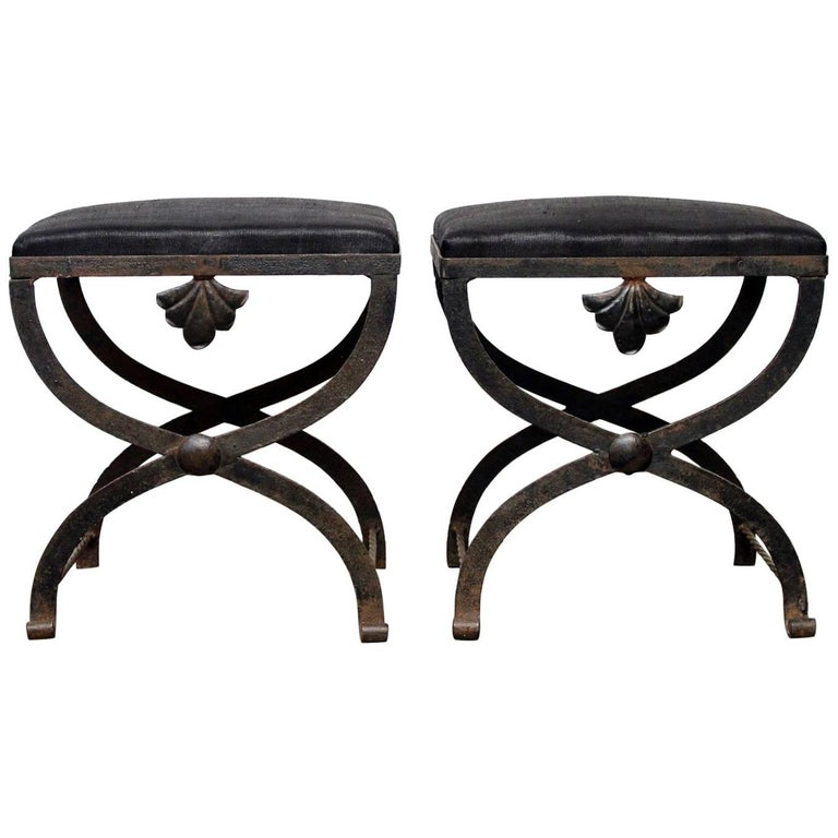 Early 20th Century Pair of Upholstered French X Stretcher ...