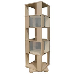 Italian TOTEM Ivory Lacquered Turning Library, 1960