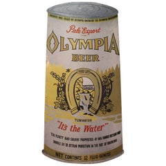 Oversized 1950s Hand-Painted Advertising Sign for Olympia Beer