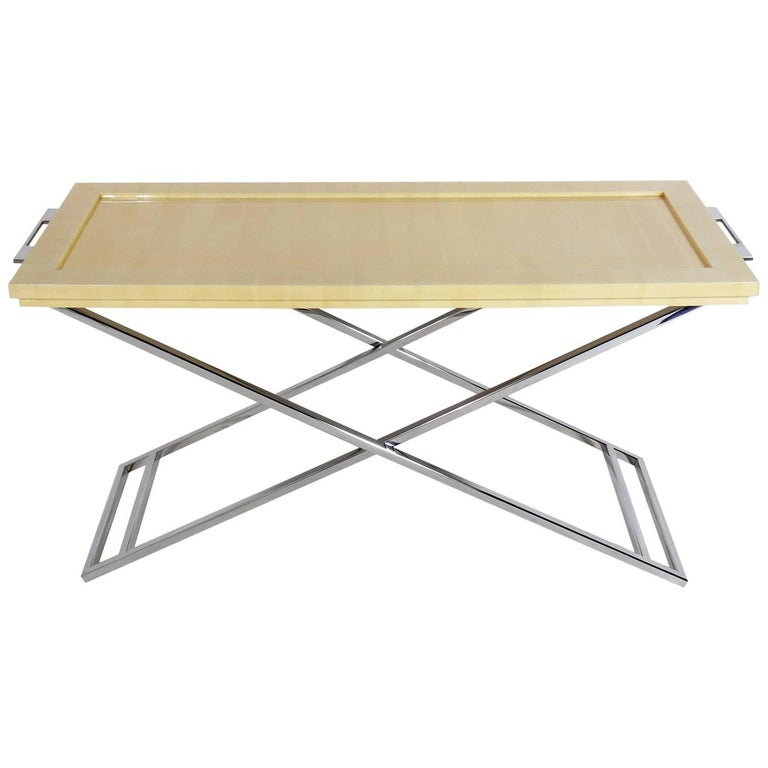 Lacquered Goatskin and Chrome X-Console Table for Lorin Marsh