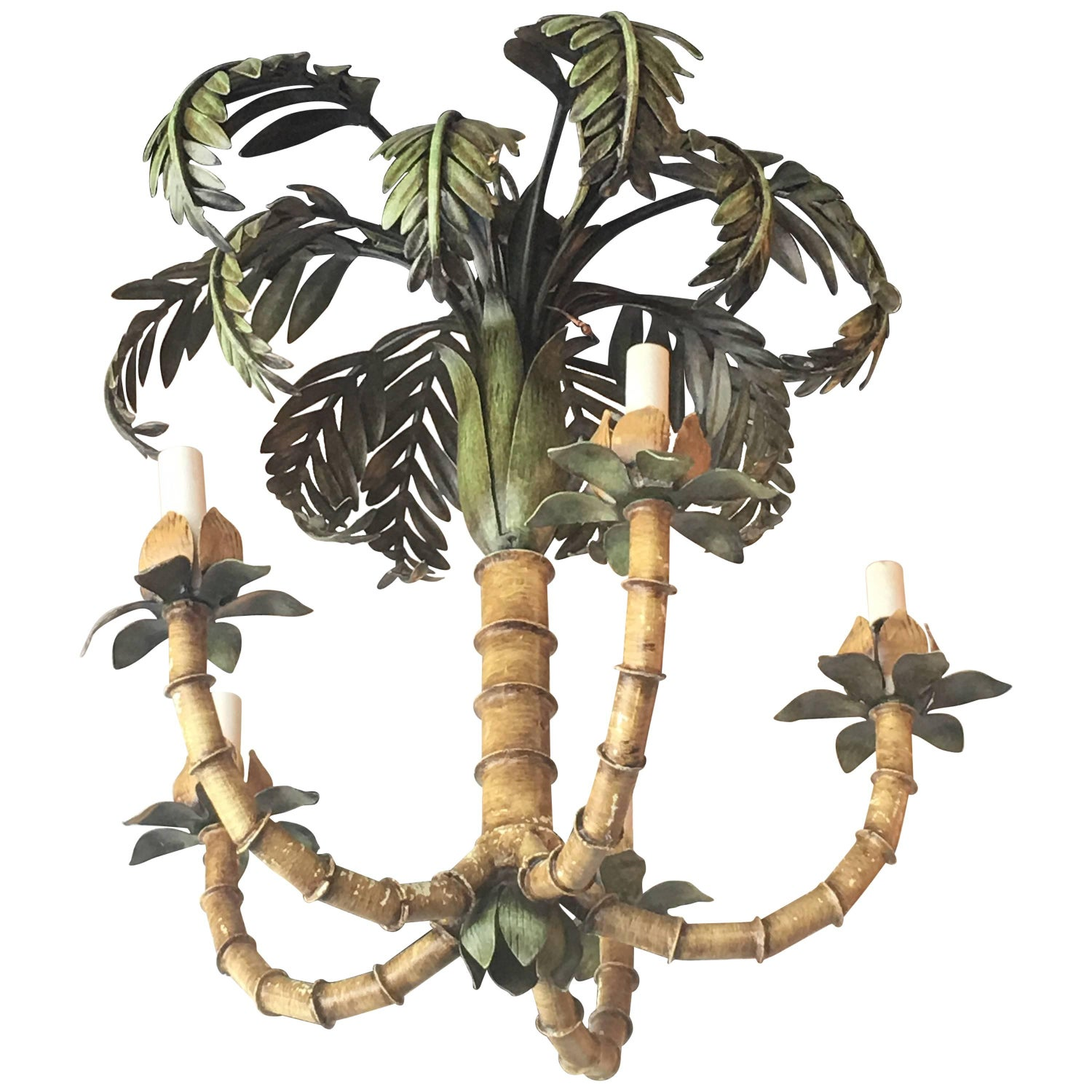 Palm Tree Frond Leaf Leaves Chandelier Vintage Metal Tropical
