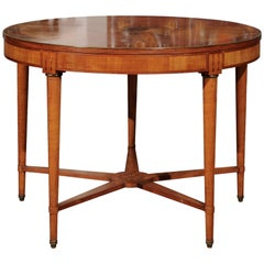 French 1880s Round Burl Walnut Inlaid Table with Star-Shaped Cross Stretcher