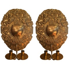 Pair of Late 19th Century Dutch Brass Sconces