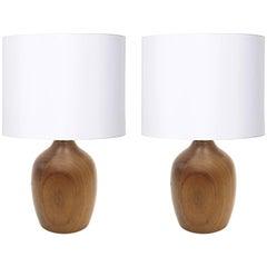 Pair of Small Teak Lamps