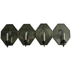 Set of Four Art Deco Mirrored Sconces