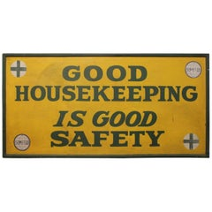 "1930s Hand-Painted Factory Wood Sign ""Good Housekeeping"""
