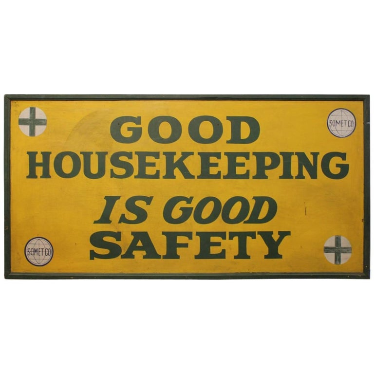 """1930s Hand-Painted Factory Wood Sign """"Good Housekeeping"""""""