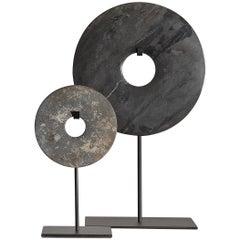 Set of Chinese Polished Stone Bi- Discs