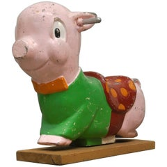 "Gametime ""Porky Pig"" Playground Ride, Cast Aluminium, 1950s"