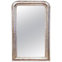 19th Century French Louis Philippe Silver Leaf Wall Mirror with Flower Motif