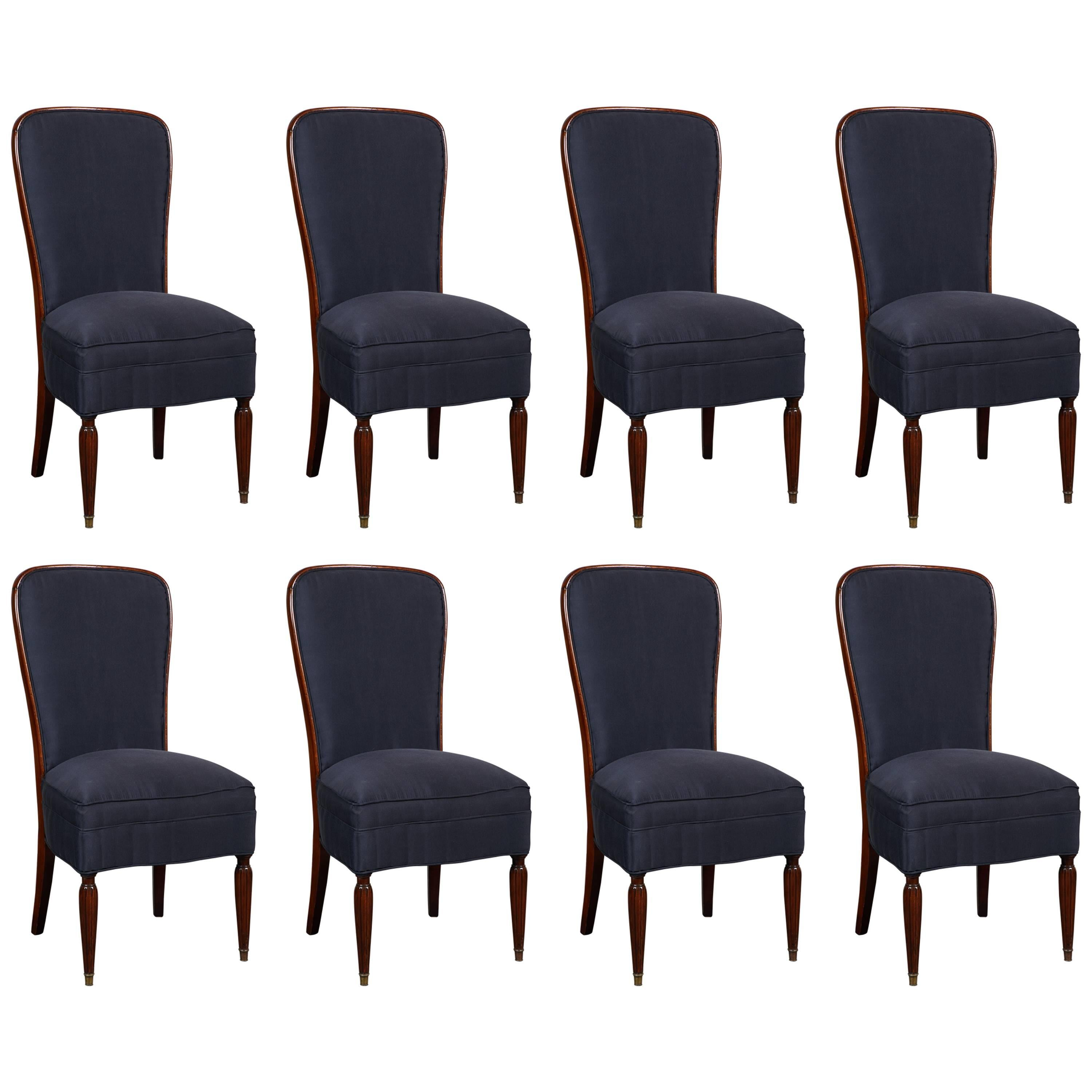 Set Of Eight French Art Deco Rosewood Dining Chairs