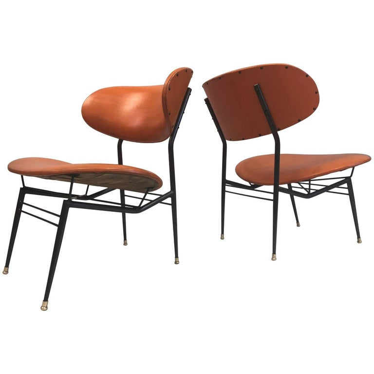 Two Pairs of Italian Mid-Century Modern Lounge Chairs by Gastone Rinaldi