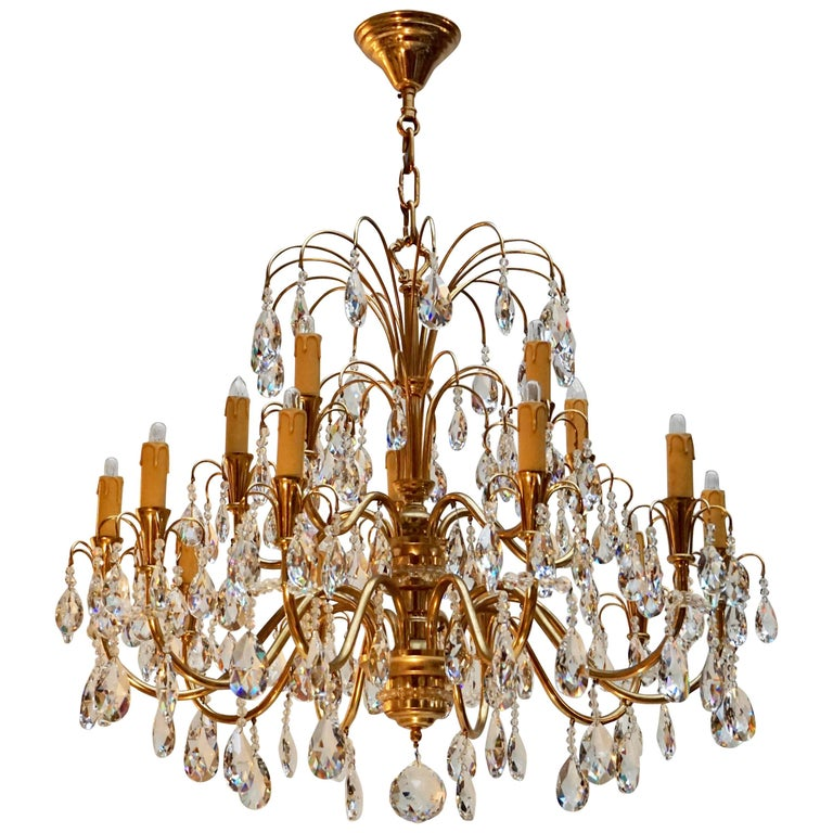 Brass and Crystal Glass Chandelier
