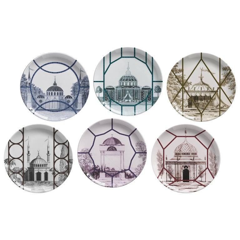 Set of Six Topkapi Porcelain Dinner Plates by Vito Nesta for Les Ottomans, Italy