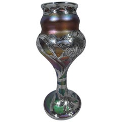 Fine Quality Quezal Art Glass Vase with Silver Overlay