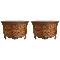 Pair of Possible Don Rousseau Louis XV Style Double Drawer Commodes Nightstands