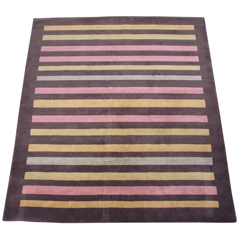 Modern Multicolored Striped Rug For