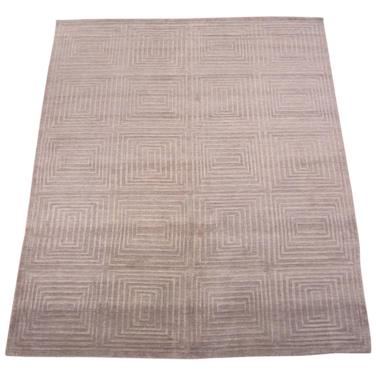 Modern Light Brown Sculptured Area Rug With Square Design
