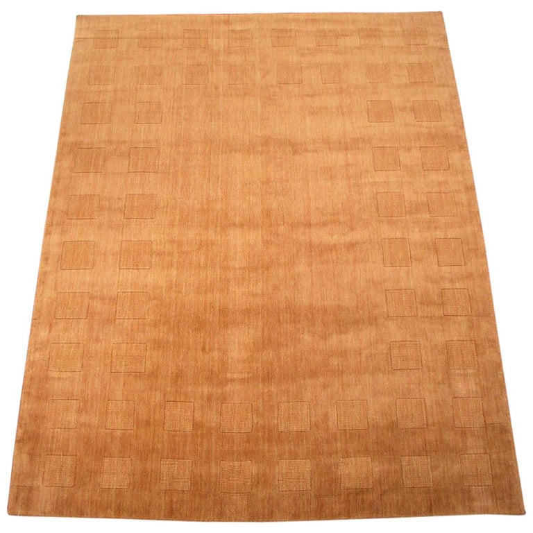 Modern Area Rug With Sculptured Square Border For Sale At