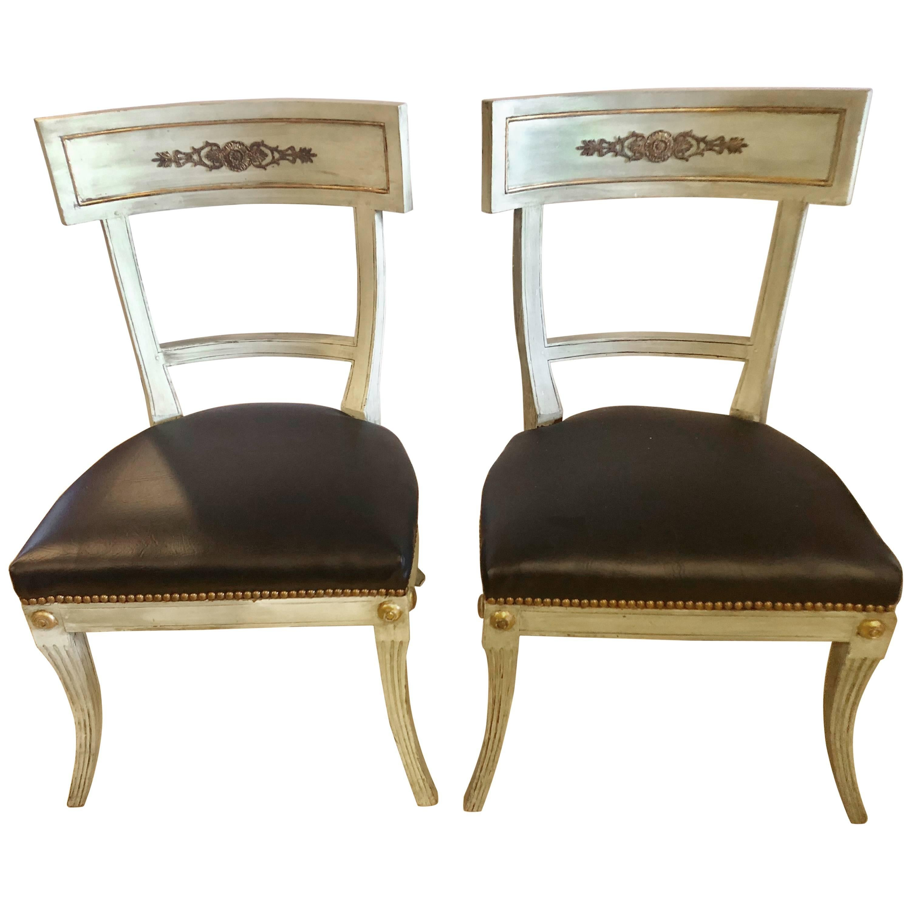 Pair of Hollywood Regency Painted with Bronze Mounts Side or Office Chairs