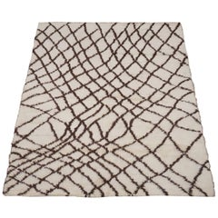 Modern Moroccan Style Rug with Dark Brown Lines