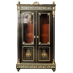 Napoleon Three Boulle Brass Marquetry Vitrine, France 19th Century