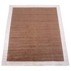 Modern Brown Wool Rug with Ivory Border