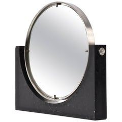 Italian Marble and Steel Vanity Table Mirror Round, Italy 1960s By Mangiarotti