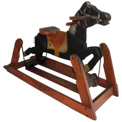 19th C Platform Rocking Horse in Original Painted Surface
