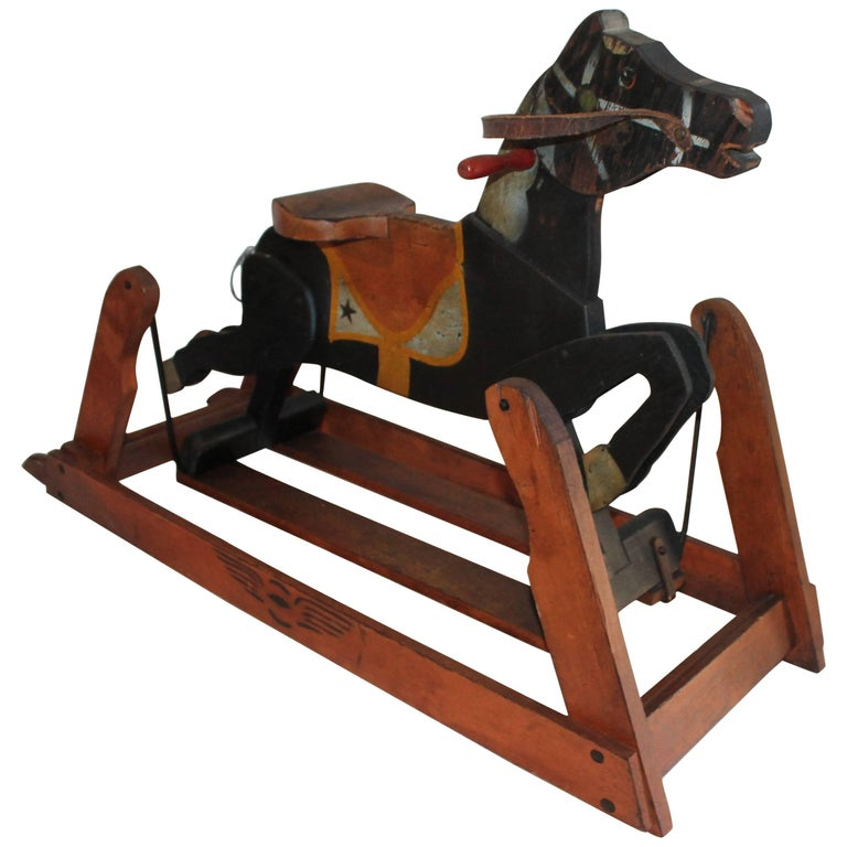 19th C Platform Rocking Horse in Original Painted Surface