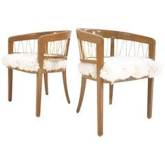 Pair of Vintage Edward Wormley for Drexel Armchairs in Ivory Brazilian Sheepskin