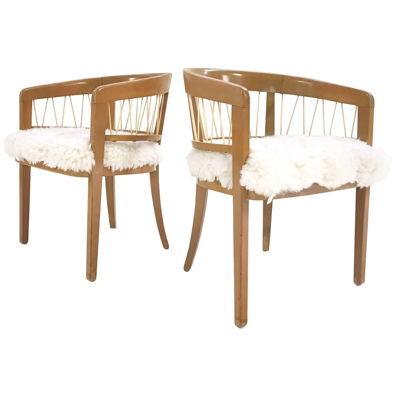 Pair Of Vintage Edward Wormley For Drexel Armchairs In Ivory Brazilian  Sheepskin