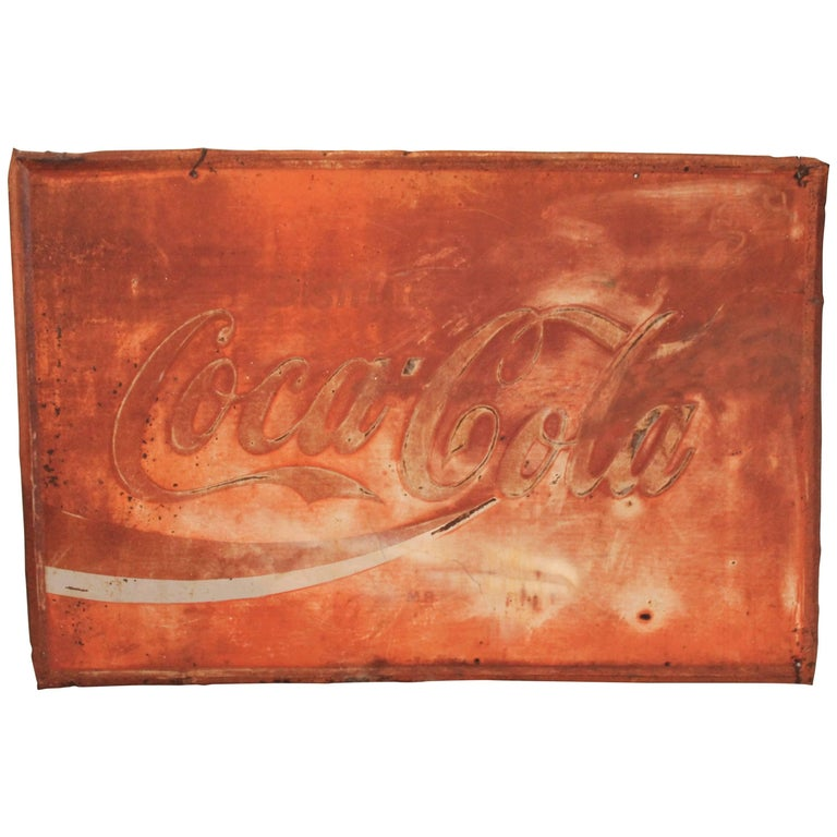 Coca Cola Sign in Original Painted and Faded Surface