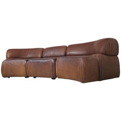De Sede Cosmos Modular Buffalo Leather Lounge Sofa, Three Easy Chairs, 1970s