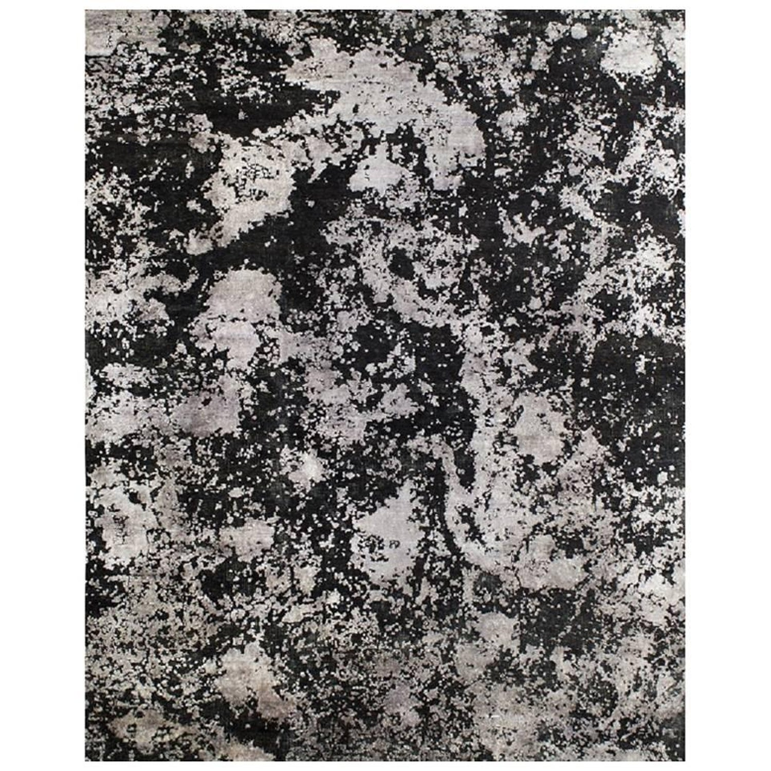 Organic Abstract Black Silver Rug Hand Knotted Wool Silk Sustainable 8 X10