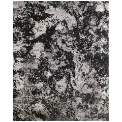 Black Silver Organic Abstract Hand-knotted Wool and Silk Sustainable Rug 9'x12'