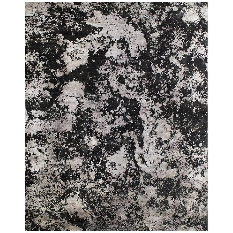 Black Silver Organic Abstract Hand-knotted Wool and Silk Sustainable Rug 9'x12'  For Sale
