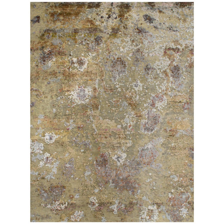 Gold Copper Rust Peach Beige Grey Hi-Low Hand-knotted Wool and Silk Rug in Stock For Sale