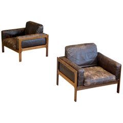 Arne Wahl Iversen Pair of Easy Chairs in Rosewood and Leather for Komfort Mobler