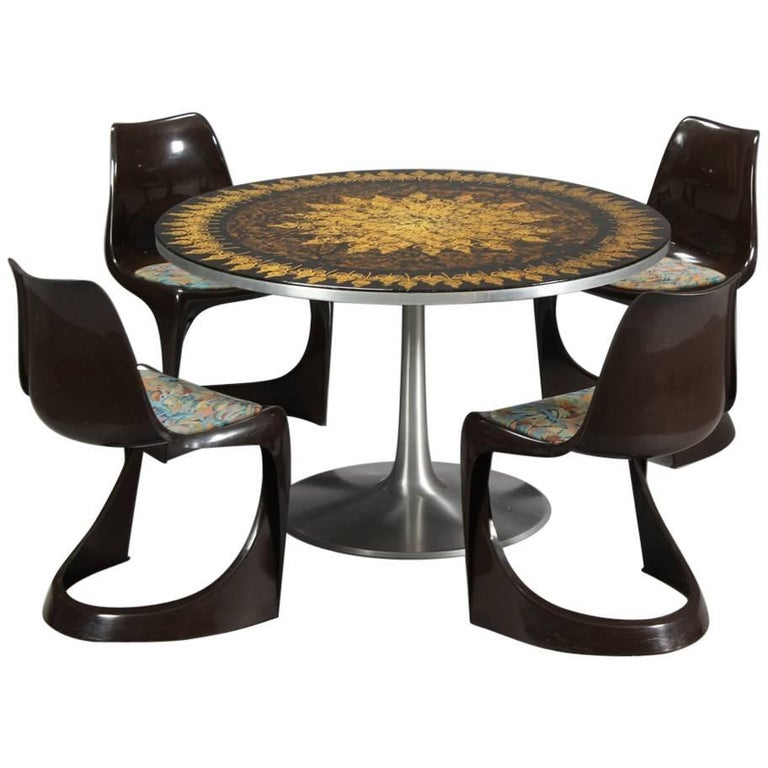 Poul Cadovius 1960s Dining Table in Aluminum and Matching Plastic Dining Chairs