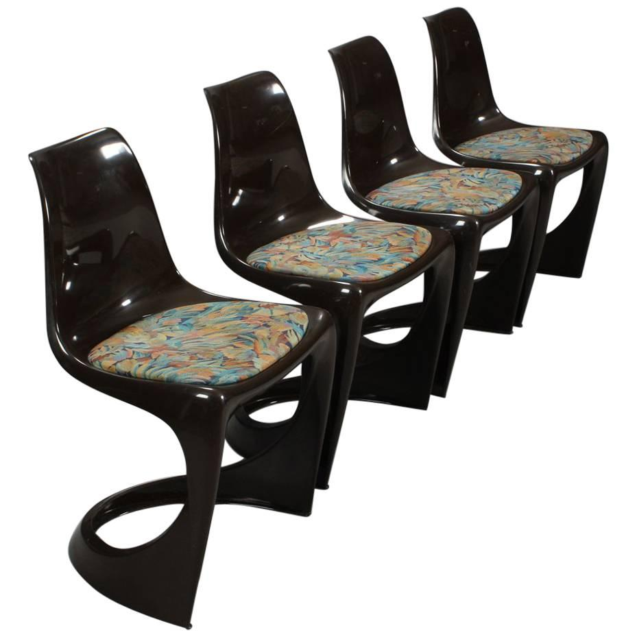 Four Danish Plastic Dining Chairs By Steen Østergaard For Poul Cadovius,  1960s For Sale