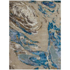 Odyssey 'Haise- Pluto' Hand-Knotted, Wool and Silk, Abstract Rug