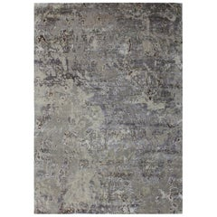 Organic Pattern, Abstract Rug, Hand Knotted, Wool Silk, Grey and Beige 9' x 12'
