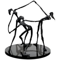Vintage Bronze Abstract Sculpture of Female Dancers, after Alberto Giacometti