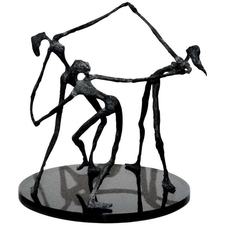 Vintage Bronze Abstract Sculpture of Female Dancers, After Alberto Giacometti For Sale