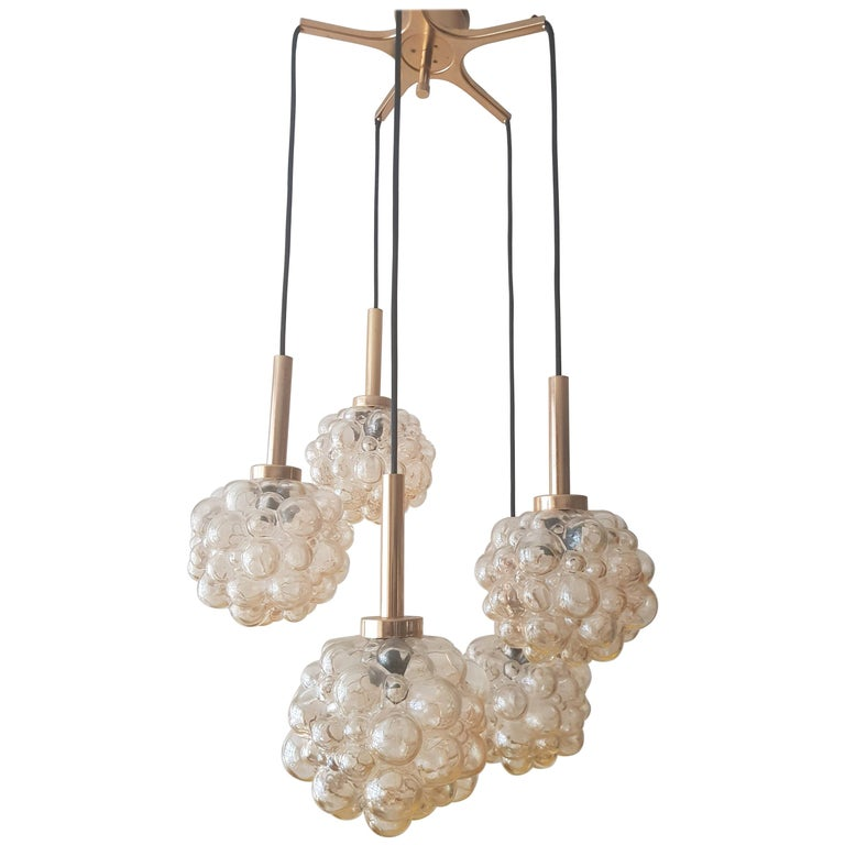Vintage Bubble Glass Chandelier by Helena Tynell, 1960s For Sale